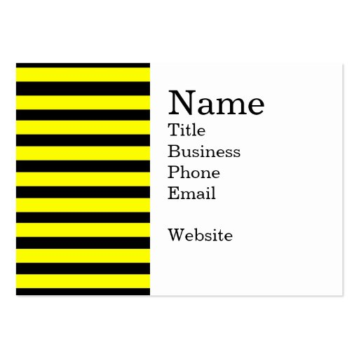 Bold Yellow and Black Bumble Bee Striped Pattern Business Cards