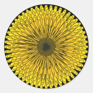 Bold Yellow Dandelion Classic Round Sticker
