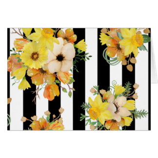 Bold Yellow Floral on Stripes Greeting Card