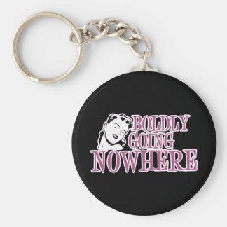 Boldly Going NOWHERE Retro Lady Pink Basic Round Button Key Ring