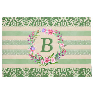 Boldly Romantic Floral Monogram Doormat (Green)