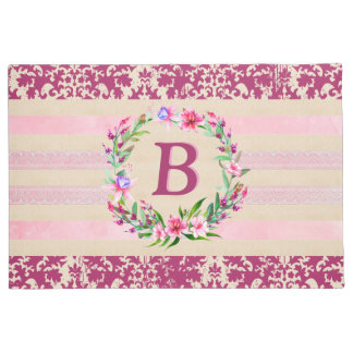 Boldly Romantic Floral Monogram Doormat (Wine)