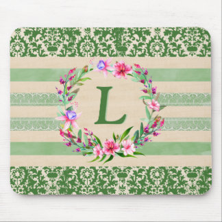 Boldly Romantic Floral Monogram Mouse Pad (Green)