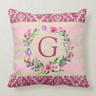 Boldly Romantic Floral Monogram Pillow (Wine)