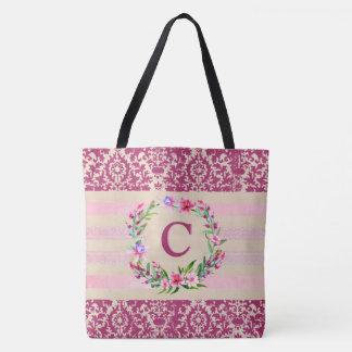 Boldly Romantic Floral Monogram Tote (Wine)