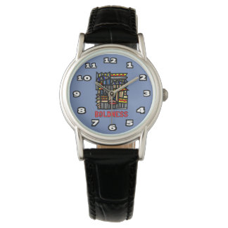 """Boldness"" Womens Classic Black Leather Wrist Watch"
