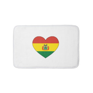 Bolivia Flag Heart Bath Mats