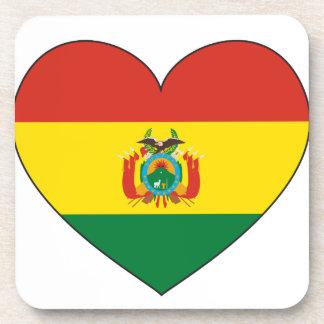 Bolivia Flag Heart Coaster