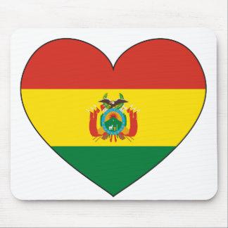 Bolivia Flag Heart Mouse Pad