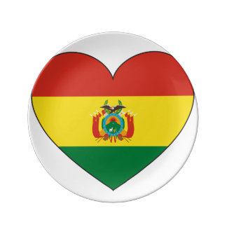 Bolivia Flag Heart Plate