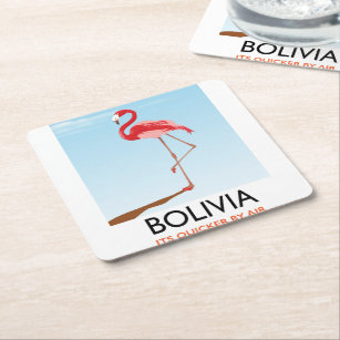 Bolivia Flamingo travel poster Square Paper Coaster