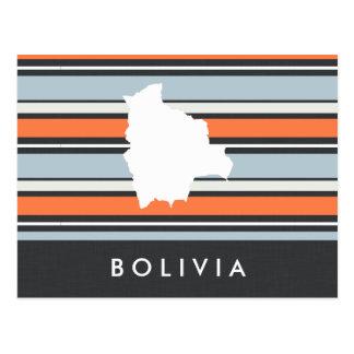 Bolivia Map: Modern Stripes Postcard