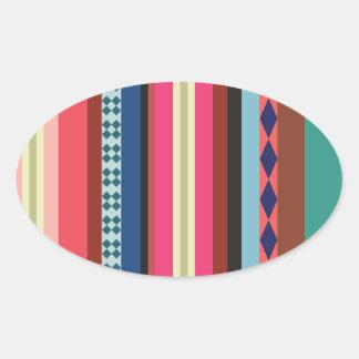 Bolivian pattern oval sticker