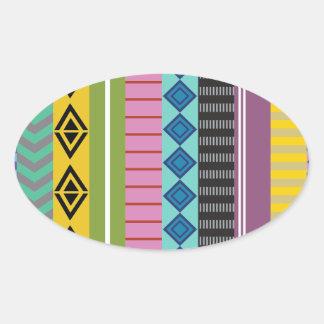 Bolivian stripes oval sticker