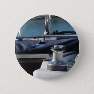 Bollard and mooring ropes on sailing boat bow 6 cm round badge