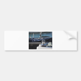 Bollard and mooring ropes on sailing boat bow bumper sticker