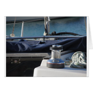Bollard and mooring ropes on sailing boat bow card