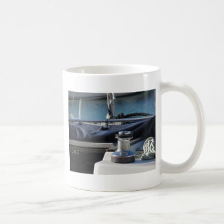 Bollard and mooring ropes on sailing boat bow coffee mug