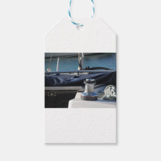 Bollard and mooring ropes on sailing boat bow gift tags