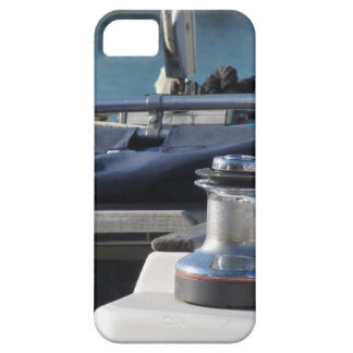 Bollard and mooring ropes on sailing boat bow iPhone 5 covers