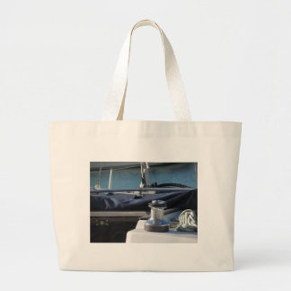Bollard and mooring ropes on sailing boat bow large tote bag