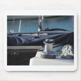 Bollard and mooring ropes on sailing boat bow mouse pad