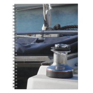 Bollard and mooring ropes on sailing boat bow notebook