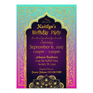 Bollywood Arabian Nights Birthday Invitation Card