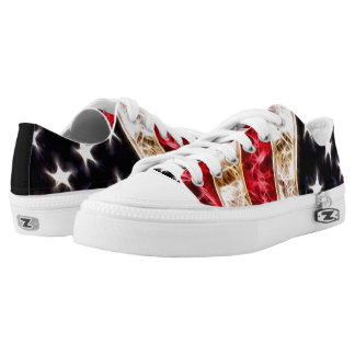 BOLO American Flag Fractal Custom Low Top Zipz Printed Shoes