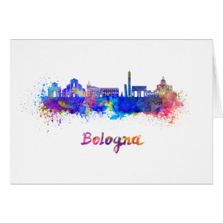 Bologna skyline in watercolor card