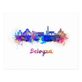 Bologna skyline in watercolor postcard