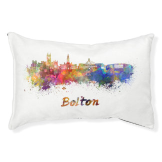 Bolton skyline in watercolor pet bed