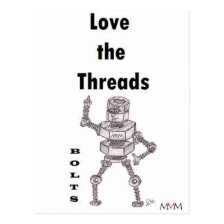Bolts - Love the Threads Postcard