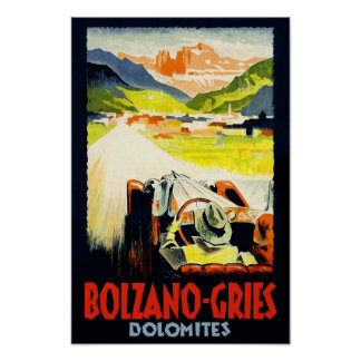 Bolzano - Gries travel poster.  Italy Poster