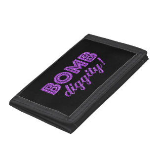Bomb Diggity Cheer Squad Cheerleader Glitter Trifold Wallets