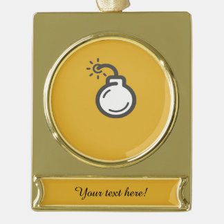 Bomb Icon Gold Plated Banner Ornament