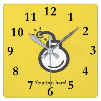 Bomb Icon Square Wall Clock