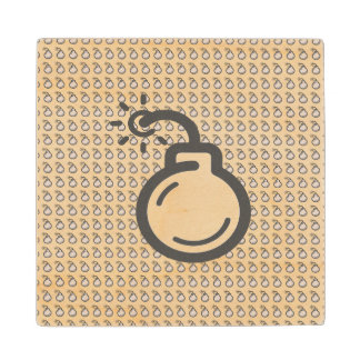 Bomb Icon Wood Coaster