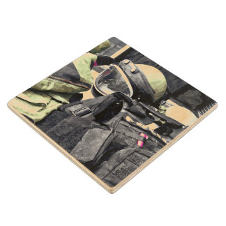Bomb Squad Uniform Wood Coaster