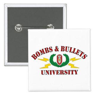 Bombs Bullets University Button