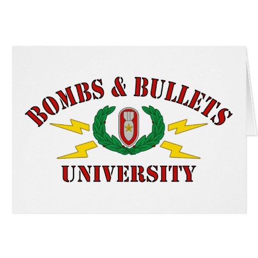 Bombs & Bullets University Card