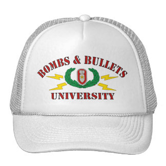 Bombs Bullets University Hats