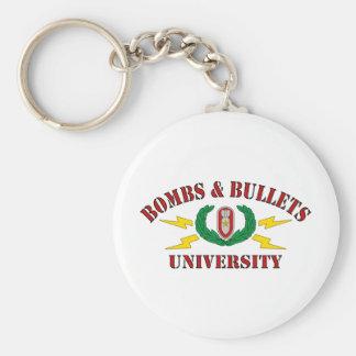 Bombs Bullets University Keychains