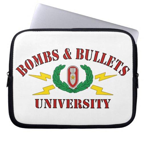 Bombs & Bullets University Computer Sleeves