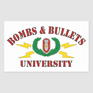 Bombs & Bullets University Rectangle Stickers