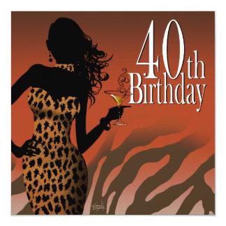 Bombshell Leopard Zebra 40th Birthday Party 13 Cm X 13 Cm Square Invitation Card