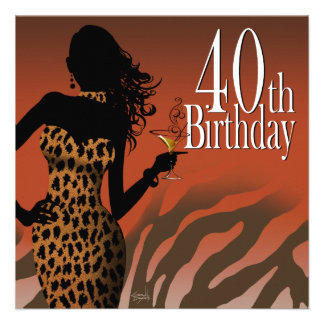 Bombshell Leopard Zebra 40th Birthday Party Custom Invitations