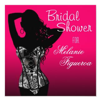 Bombshell Lingerie Lace Corset Bridal Shower 13 Cm X 13 Cm Square Invitation Card