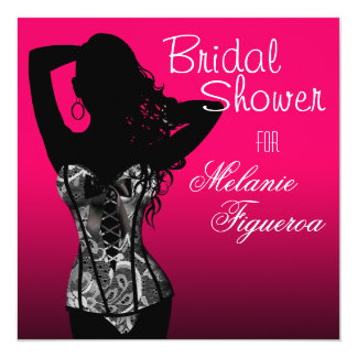 Bombshell Lingerie Lace Corset Bridal Shower 5.25x5.25 Square Paper Invitation Card