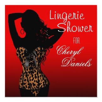 Bombshell Lingerie Leopard Corset Bridal Shower 5.25x5.25 Square Paper Invitation Card
